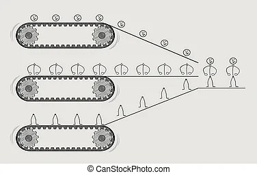 People conveyor. A conveyor belt of replicated people with