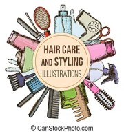 hair care products clip art vector