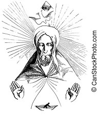 Trinity illustration, father, son and holy spirit.