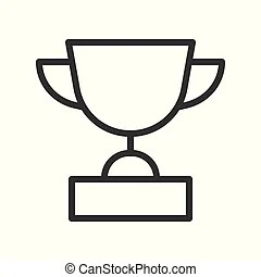 Trophy award competition champion outline vector