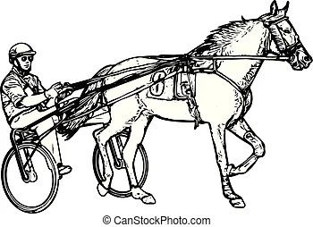 Trotter. Trotter horse racing and sulky with driver.