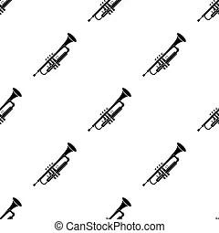 Black and white trumpet illustration. Trumpet vector