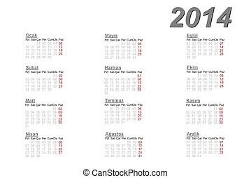Dutch calendar for 2014 on white background.