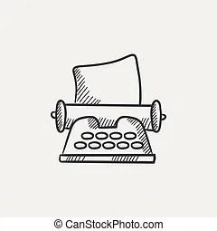 Vintage manual typewriter sketch. Doodle style antique