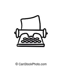 Vintage manual typewriter sketch. Doodle style antique