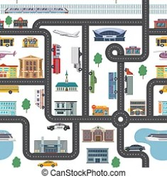 Map of small town part summer urban landscape with roads city transport and public buildings vector illustration web CanStock