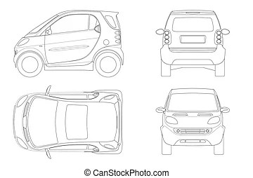 Small compact electric vehicle or hybrid car on outline