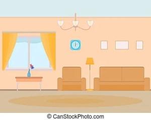 cartoon background living door illustration vector apartment interior clip stile flat