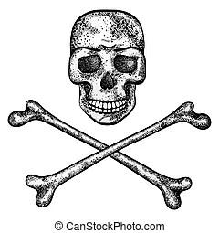 Vector skull. Black skull isolated on white background