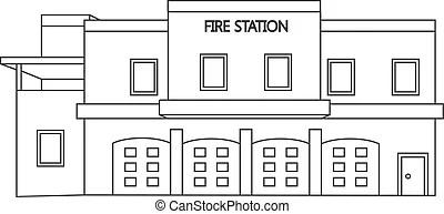 fire station clipart vector vettore illustrazione pompieri clip building line caserma dei linea truck illustrationen department stazione fuoco vectors illustrations