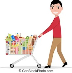 shopping trolley vector cartoon groceries boy cart supermarket illustration food male going drinks meal flat side overfilled clipart