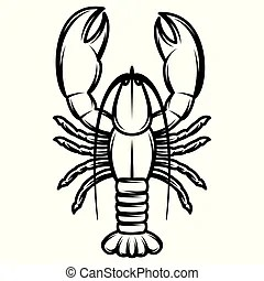 Black and white crawfish Illustrations and Stock Art. 131
