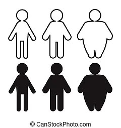 Fat and skinny people. Illustration of the fat and skinny