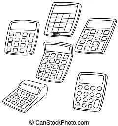 Set of cartoon accountant with calculator. Set of cartoon