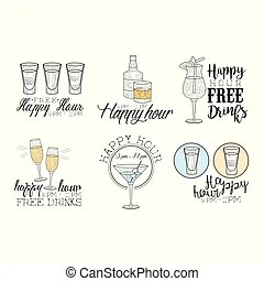 Set of funny cocktails. colorful drinks in different