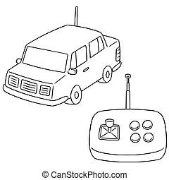 Happy birthday remote control car illustration in vector.