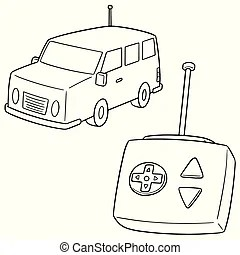 Control remote car toy, outline style. Control remote car