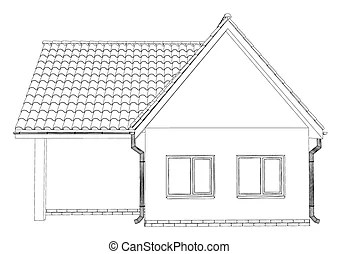Wireframe of cottage. 3d rendering wire-frame of house
