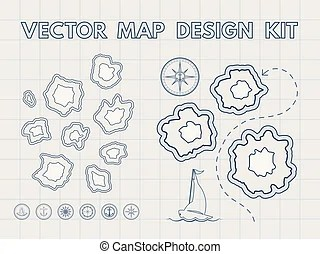 Treasure map kit. Example map and design elements to make