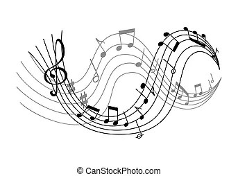 Music otes on stave. Music notes on scale isolated vector