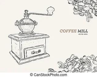 Hand drawn vintage coffee grinder, vector eps 10.