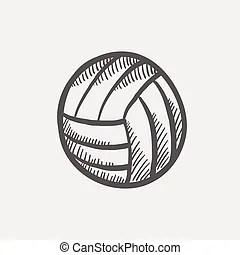 Volleyball sketch. Doodle style volleyball illustration in