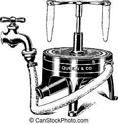 Manual water pump, vintage engraving. Manual water pump