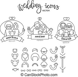 Wedding gay couples vector characters. Happy gay couple in