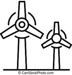 Wind icon, outline style. Wind icon. outline illustration