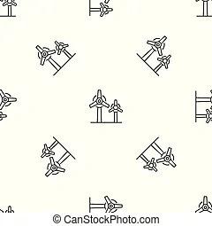 Wind power plant propeller motion line symbol