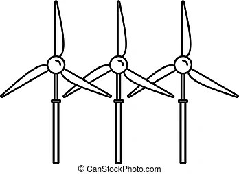 Wind turbine generator icon, flat style. Wind turbine