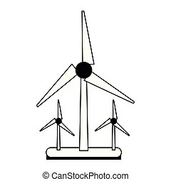Wind turbines energy farm isolated black white. Wind