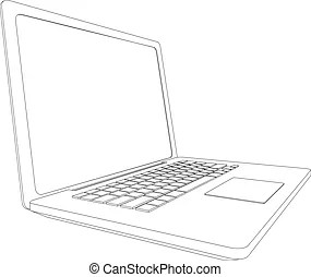 Wire-frame open laptop. vector. Drawing of wire-frame open