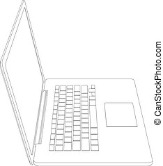 Laptop perspective. Laptop vector on white background with