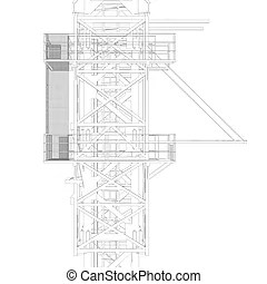 Wire frame tower crane. 3d rendering on white background.
