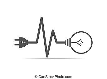 Light bulb volt illustration design over a white background.