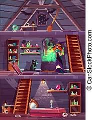 attic vector clipart cellar witch illustrations clip