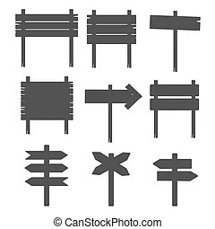 Set of various signposts silhouettes.