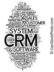 Customer relationship management system crm in word tag cloud.