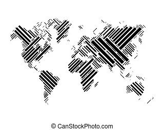 Black and white vertical line pattern world map negative
