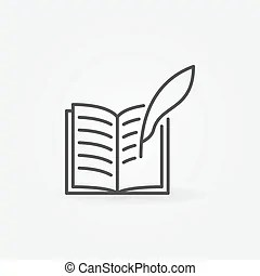 Notepad with quill. Ring notepad with quill in vector design.