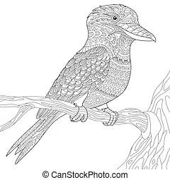 Laughing kookaburra. Isolated vector cartoon of a cheerful