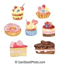 Gemalt, aquarell, hand, kuchen, kirschen. Illustration ...