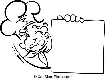 Kchenchef menkarte lcheln karikatur Menkarte