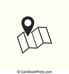 Landkarte, symbol., ort, icon., zeiger, gps. Landkarte