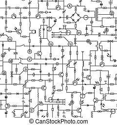 Symbole, elektrischer kreislauf. (helpful, hintergrund