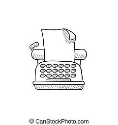 Weinlese, skizze, manuelle schreibmaschine. Antikes , stil