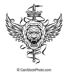 Springen, symbol, löwe. Vector., symbol, löwe, design