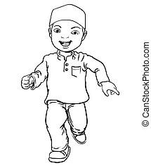 Dibujo de dibujos animados gordos sonriendo: ilustración