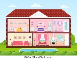 Casa dentro con interiores de habitaciones ilustración de vectores en diseño plano Casa dentro interior vector la CanStock